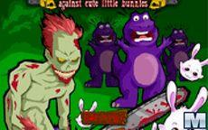 Chainsaw Killer Zombie Against Cute Little Bunnies